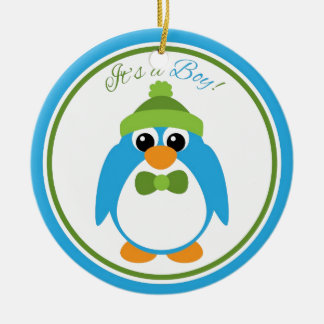 It's a Boy Penguin in Blue and Green Ceramic Ornament