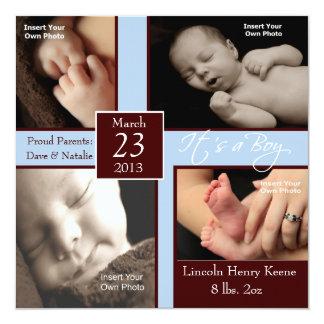"""It's a Boy Photo Collage Birth Announcements 5.25"""" Square Invitation Card"""