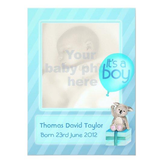It's a boy photo newborn baby announcement card