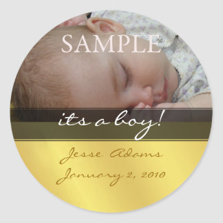 Its a boy, photo stickers birth announcement
