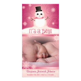 """It's a Boy!"" Pink Baby Snowman Card"