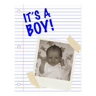 it's a boy! POLAROID Postcard