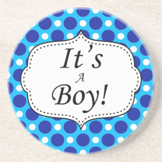 Its A Boy Polka Dot Milestone Coaster