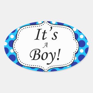 Its A Boy Polka Dot Milestone Oval Sticker