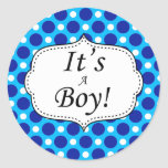 Its A Boy Polka Dot Milestone Round Stickers