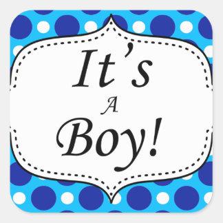 Its A Boy Polka Dot Milestone Square Sticker