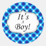 Its A Boy Polka Dot Milestone Classic Round Sticker