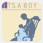 <It's a Boy> por el minero de Steve Calcomanía Cuadrada Personalizada