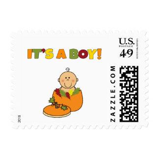 It's a boy pumpkin baby shower medium skin postage