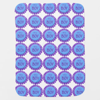 It's a Boy Purple and Blue Button Stroller Blanket