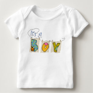 """It's A Boy"" Quilted Announcement Lap T-Shirt"