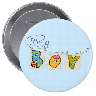 It's A Boy Quilted - Birth Announcement BUTTON #2 Pinback Buttons