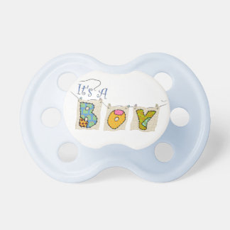 It's A Boy Quilted - Birth Announcement Pacifier