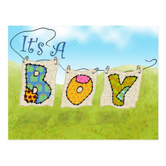 It's A Boy Quilted - Birth Announcement Post-Card Postcard
