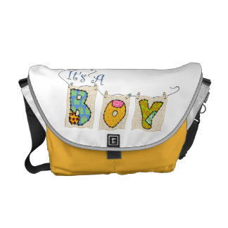 It's A Boy Quilted Messenger Bag