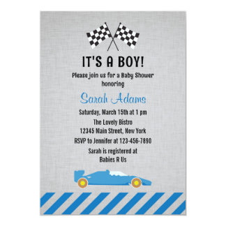 It's A Boy Race Car Baby Shower Invitation