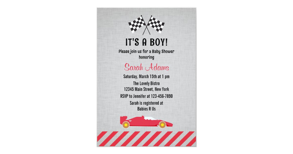 it 39 s a boy race car baby shower invitation zazzle