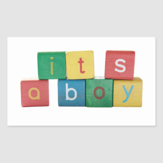 it's a boy rectangle stickers