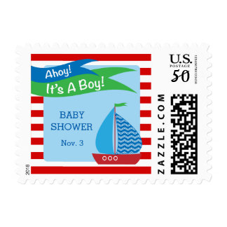 It's A Boy, Red Nautical Baby Shower Postage