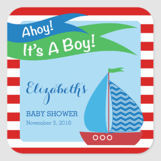 It's A Boy, Red Nautical Baby Shower Square Sticker