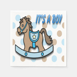 It's a Boy Rocking Horse Baby Shower Paper Napkins