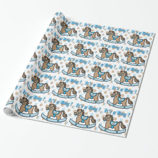 It's a Boy Rocking Horse Baby Shower Wrapping Pape Gift Wrap Paper