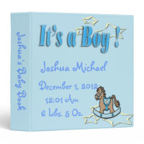 It's A Boy -  Rocking Horse Keepsake Baby Book Binder