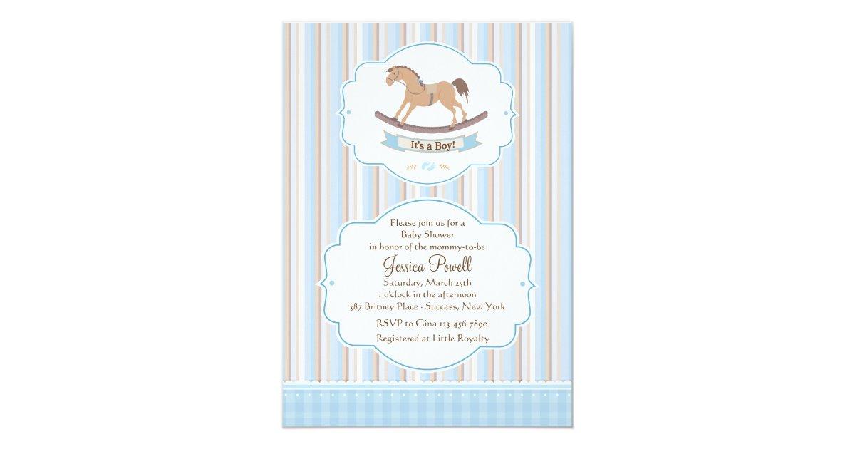 It\'s A Boy Rocking Horse Shower Invitation | Zazzle.com