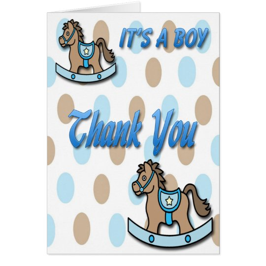 It's a Boy Rocking Horse Shower Thank You Card