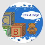 It's A Boy Round Stickers