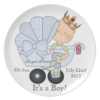 It's a Boy-Royal Prince in Pram/weight+birthday Plate
