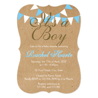 It's a Boy Rustic New Baby Bunting Baby Shower Card