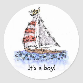 It's a boy! Sailboat Stickers
