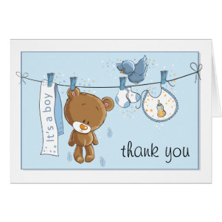It's A Boy Shower Thank You Greeting Card
