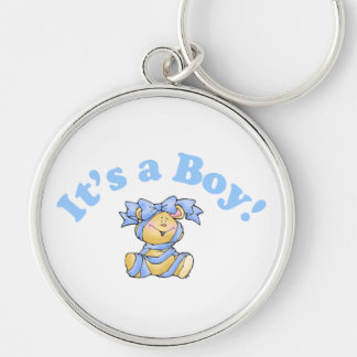 Its A Boy Silver-Colored Round Keychain