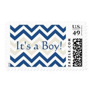 It's A boy Stamp   Trendy Chevron Pattern