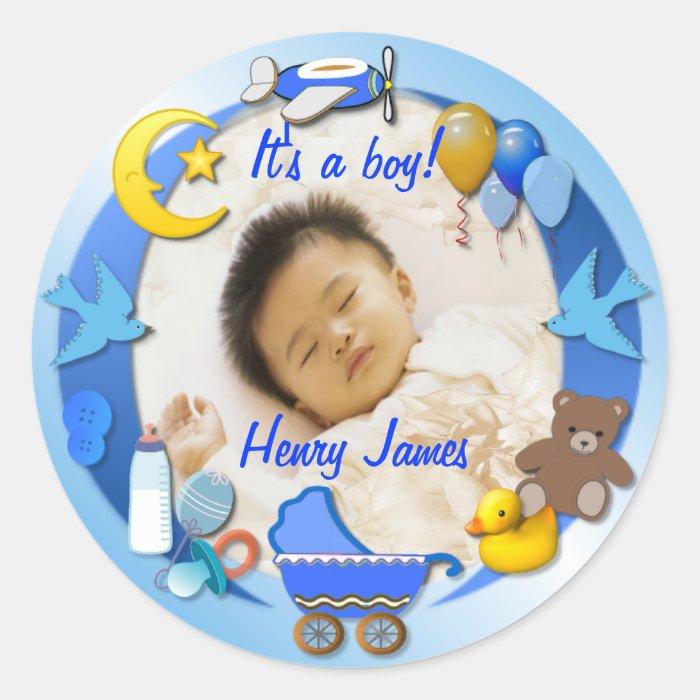 It's a Boy ~ Sticker/Sealer Classic Round Sticker