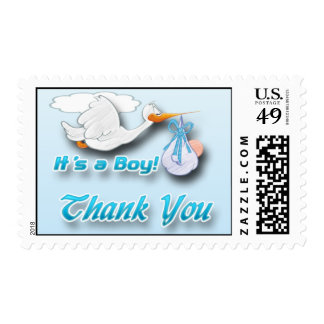 It's a Boy Stork Baby Shower Thank You Postage