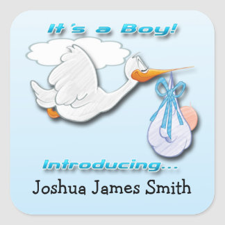 It's a Boy Stork Birth Announcement envelope seal