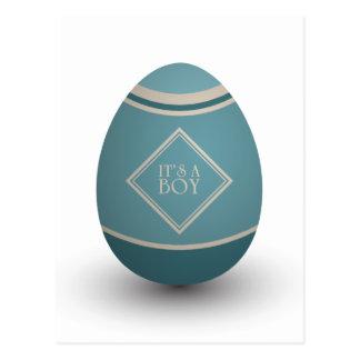it's a boy stork egg postcard