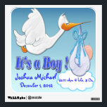 """It&#39;s A Boy - Stork Keepsake Wall Decal<br><div class=""""desc"""">Features a pink background with clouds and a stork carrying a baby Boy. The text is set up for the baby&#39;s name, birthday, and time of birth, add as much information as you would like. Click &quot;Customize&quot; to delete text, change font, text color, etc. The background is also customizable. Perfect...</div>"""