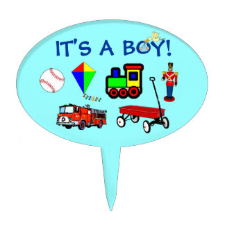It's A Boy Stork Train Wagon Toys Blue Baby Shower Cake Topper