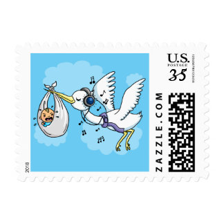 It's a boy stork with headphones postage