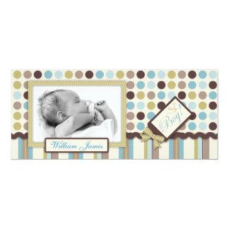 """It's a Boy! Tall Announcement Card 4"""" X 9.25"""" Invitation Card"""