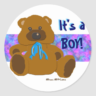 """""""It's a Boy"""" Teddy Bear Collection Classic Round Sticker"""