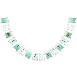 It's a Boy, Teddy Bear Green Baby Shower Bunting Flags