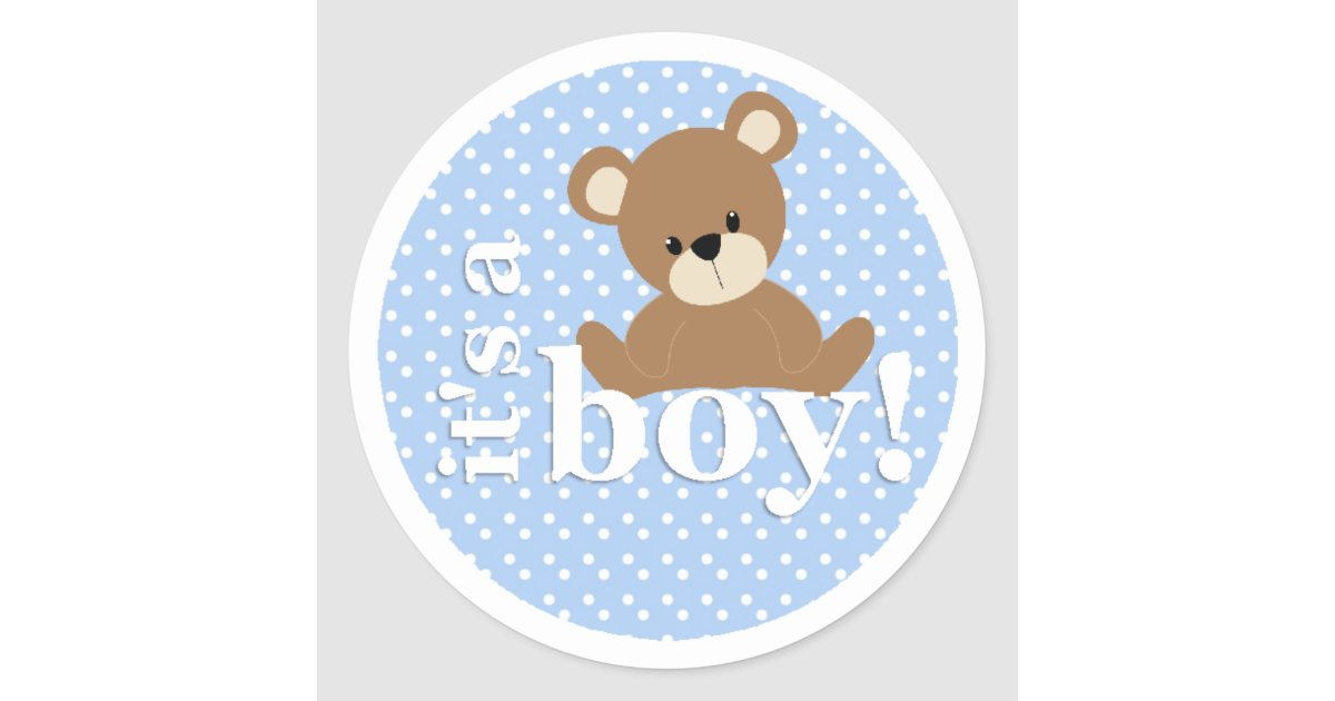 It 39 s a boy teddy bear sticker zazzle for Belly button bears wall mural