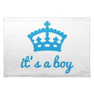 It's a boy, text design with blue crown placemat