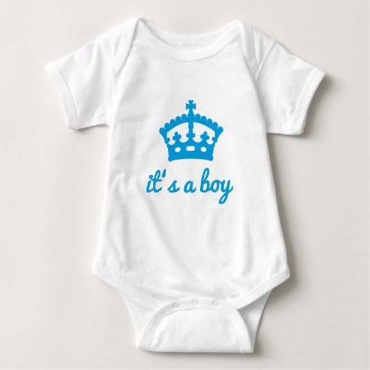 It's a boy, text design with crown baby bodysuit
