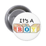 It's A Boy Toy Blocks Pinback Buttons